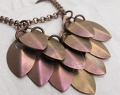 Bronze Rose Dragon Heart Necklace Titanium Scalemaille with Copper Chain