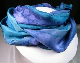 Silk Scarf - Purple scarf, Hand Painted Silk Scarf, OOAK Scarf, Unique Gift Scarf - Purple Teal Scarf