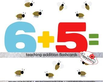 Teaching Addition Digital Flashcards - School Teacher Clip Art Numbers Bumble Bees Math Addition Pre-K Kindergarten