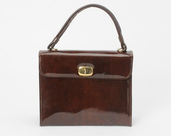 1950's Brown Patent Handbag Vintage Purse