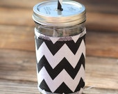 Chevron Mason Jar cup  24 oz large Tumbler with fabric sleeve- travel mug - teachers gift - mothers day- candy swirl straw included