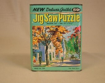 Vintage 1950s Whitman Puzzle Tin Title Main Street Free Shipping