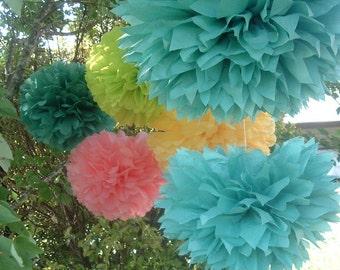 Tissue paper pom pom, tissue paper pom, paper pom, baby shower paper pom pom. Set of 18 large poms...you choose colors...