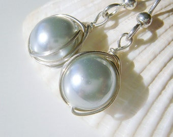 Silver Pearl Earrings, Light Grey, Winter Wedding