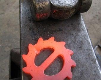 Steampunk forged gear bottle opener belt buckle