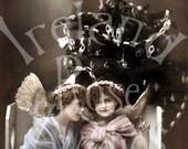 Christmas Angels-French Postcard-Digital Image Download