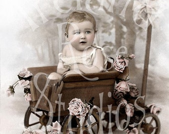 The Baby Wagon-French Postcard-Digital Image Download