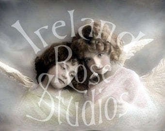 Angels-Victorian Vintage Postcard-Digital Image Download