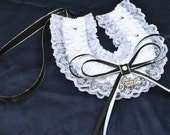 wedding horseshoe charwhite satin and white lace Lucky horse shoe with motor bike motorcycle charm