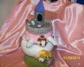 Crochet Princess Stacker baby toy castle unicorn and tiara