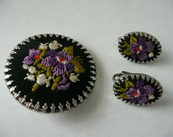 Round Black and Purple Petit Point Floral Brooch with Matching Oval Clip Earrings