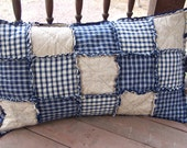 Homespun Pillowcase,  Blue Country Primitive,  Rag Quilt Style - Handmade in NJ -