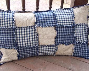 Homespun Pillowcase,  Blue Country Primitive,  Rag Quilt Style, Farmhouse Decor, Handmade in NJ