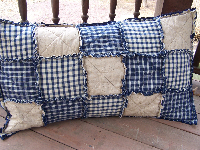 king size pillow sham patchwork sham homespun blue country. Black Bedroom Furniture Sets. Home Design Ideas