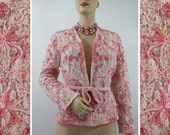 70s Designer Jacket : JACK BRYAN California - Pale Pink Chantilly Lace Lavishly Embroidered with Ombre Pink Soutache - 38 Bust