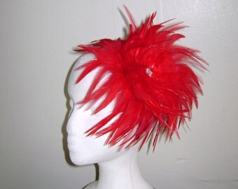 Cardinal Red Feather Fascinator Headband Hat