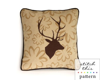 stag on wallpaper rustic modern needlepoint pattern - diy - contemporary - instant downlad - pdf
