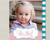 Ornate Shape Be Mine Houndstooth Valentines Day Custom Double-sided Photo Card (Printable Digital File or Printed) - Coral, Turquoise & Pink