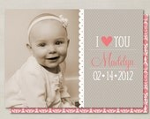 Sweet Lace I Love You Valentines Day Custom Double-sided Photo Card (Printable Digital File or Printed) - Coral & Gray