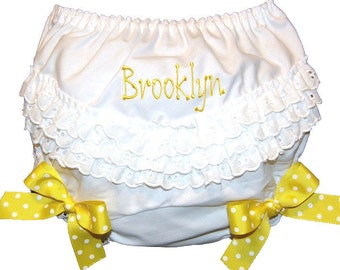 Personalized Ruffle Butt Bloomers Yellow Bows Baby Girl  Bloomers, Diaper Cover, Panties