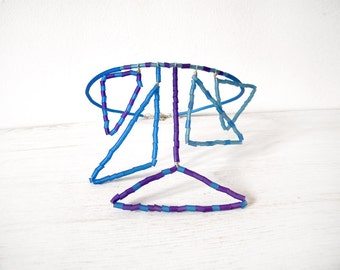 Blue purple geometric statement tribal necklace, triangles caoutchouc