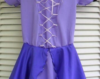 Disney Inspired Rapunzel figure skating dress from the movie Tangled.