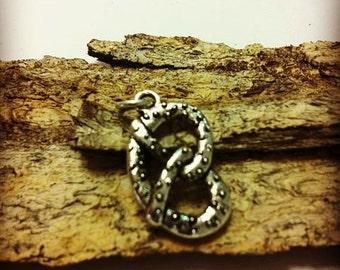 Sterling Silver Pretzel Biscuit 3d Charm Pendant Necklace
