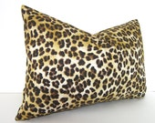 Both Sides - Lumbar -  Decorative Designer Pillow Cover - Cheetah - Leopard Print - 12x18 - 12x20 or12x22 inches - Brown - Gold - Yellow