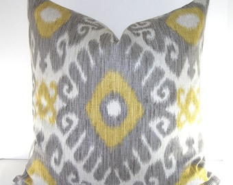 Both Sides - Ikat Decorative Throw Pillow Cover - Grey and Gold Ikat Pillow - Yellow and Grey Ikat Pillow Cover