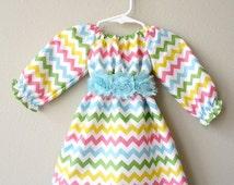 Size 12 months - Ready to Ship - Girls Chevron Long Sleeve Dress - Girls Spring Dress - Girls Dresses - Girls Easter Dress - Baby Girl Dress