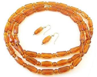 1920's Topaz Glass 46-InchLong Flapper Necklace & Drop Earrings