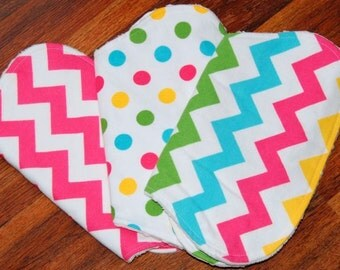 Set of 3 Contoured Burp Cloths, Chevrons and Dots, Girl