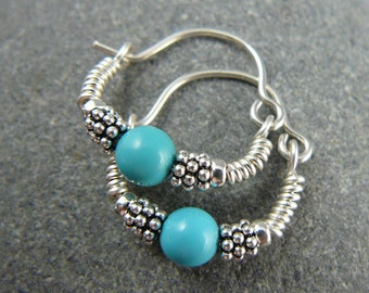 Turquoise Hoop Earrings, Sterling Silver, Turquoise Hoops, Small Silver Hoop Earrings, Small Hoop Earrings, Turquoise Earrings, Yoga Jewelry