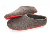 Felted Wool Slippers Brown 100% natural wool, Eco Friendly Wool Shoes, Women's slippers