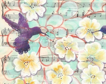 Expressively... original painting on Antique1950s sheet music book page, recycled book art, love birds, hummingbirds and blossoms