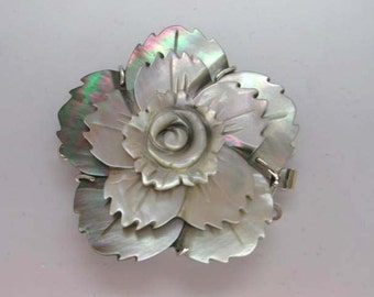 Large Carved Mother of Pearl Shell Flower Clasp Triple Strands