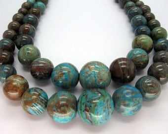 Natural Blue Sky Jasper Graduated Smooth Round Beads 16 Inch Strand