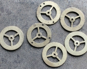 Vintage clock brass gears -- set of 6 -- D7