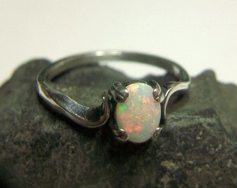 Genuine White Opal Ring Sterling Silver