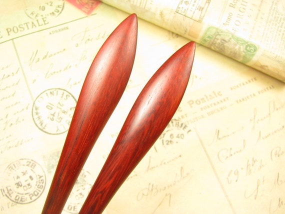A Pair of Swartizia Wood Hair Stick