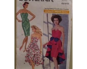 """Strapless Evening Dress Pattern, Peplum, Overskirt, Shaped Bust, Fitted, Shaped Hem,  Butterick No. 3673 Size 12 14 16 (Bust 34-38"""" 87-97cm)"""