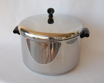 Vintage Farberware 8 Quart Covered Stock Pot Made in Bronx, New York Dutch Oven Aluminum Clad Stainless Steel Very Good Condition