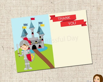 PRINTABLE Knight Party Thank You Cards #544
