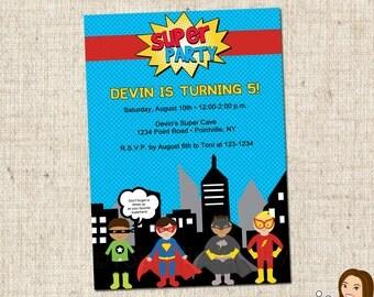 PRINTABLE Superhero Party Invitations #591