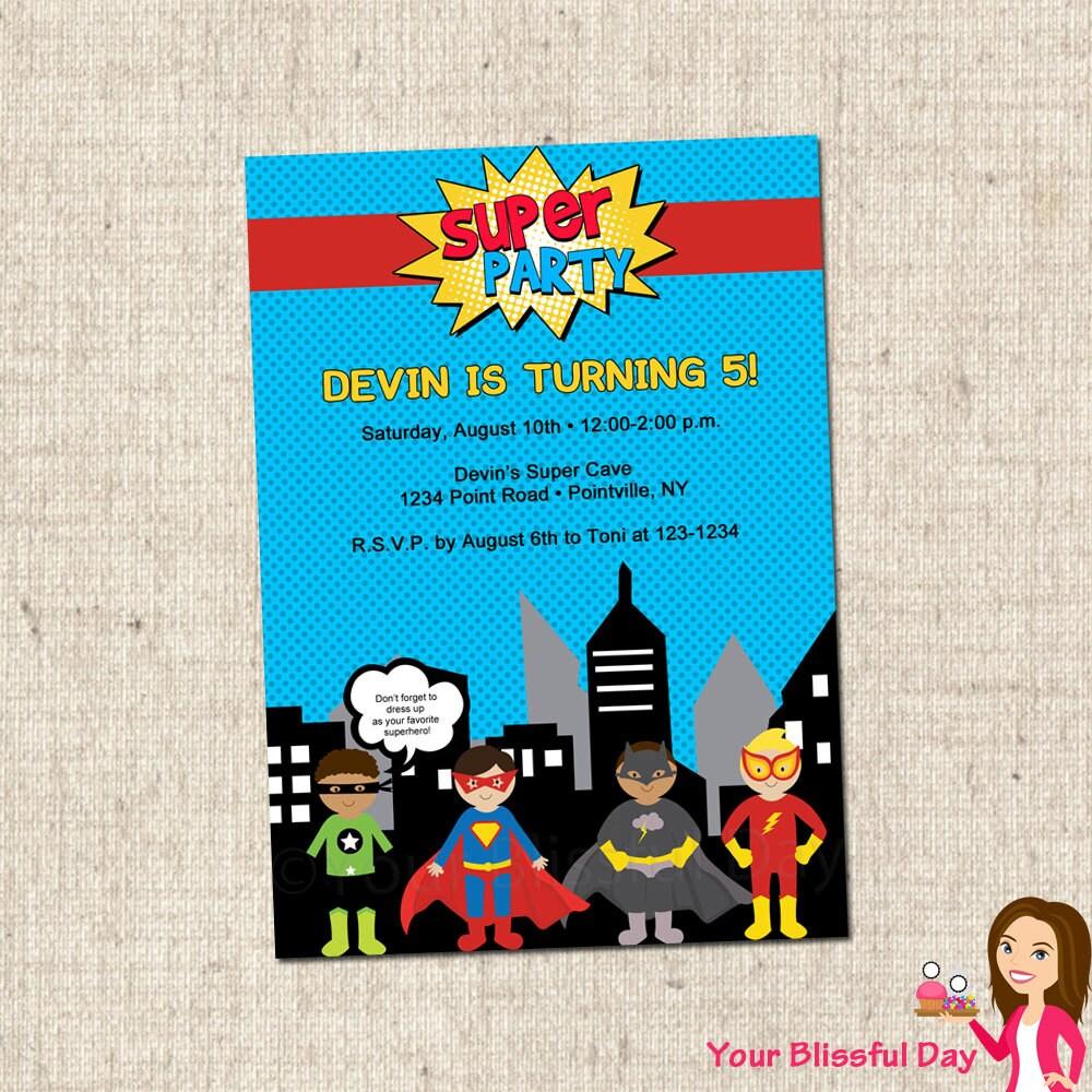 PRINTABLE Superhero Party Invitations 591