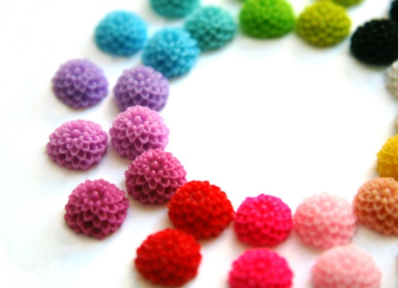 WHOLESALE 100 10mm Mum Dahlia Cabochons For Earrings and Bobby Pins DIY