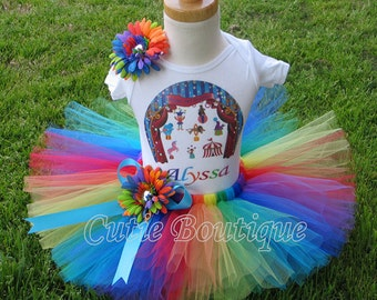 Carnival Circus Birthday Outfit Set With Personalized Shirt All Sizes 6 - 24 Months 2T-10 Girl-- Birthday, Photo