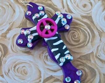 Purple Stone Curvy Cross with  Zebra Acrylic Cross, Magenta Peace Sign and Bling