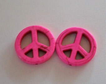 One Inch Hot Pink Stone Peace Sign Beads