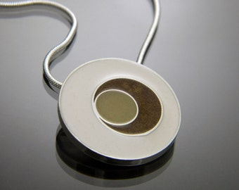 Resin and Sterling Silver Circle Necklace in Cream, Shimmer Brown, and Khaki